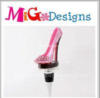 New arrival pink crystal high heel shoe wine bottle stopper wholesale