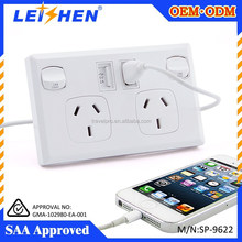 SAA usb charger wall socket ODM/OEM Quick Deliver Power Sockets With Smart IC
