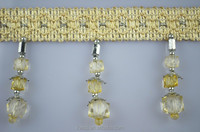 curtain beaded golden tassel fringe for home decoration,crystal bead curtain trim