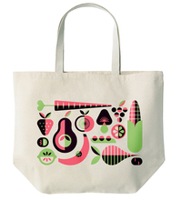 vegetables and fruit print cotton tote bag