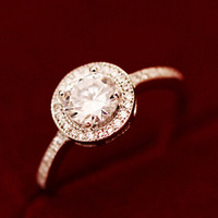 Round CZ diamond ring refined aesthetic zircon Europe and America female Ring
