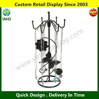 Butterfly & Flower Black Metal 6 Hooks Necklace / Bracelet Hanging Jewelry Hanger Display Tower Stand
