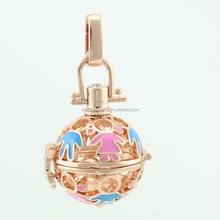 europe fashionable newest design high quality rose gold plated enamel cage angel sound bell pendant