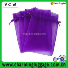 Purple Drawstring Organza Pouch Strong Wedding Favor Gift Candy Bag