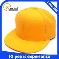 Sunny Shine 100%cotton wholesaler yellow blank custom made snapback hats bulk