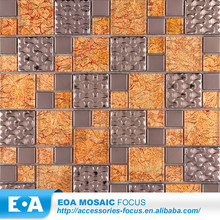 Mosaic Tiles Dubai Gold Rose Color Embossing Metal And Gold Foil Glass Mosaic