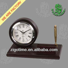 High quality antique wooden table clock with pen holder