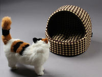 Leopard Print Yurt Style Dog Cat Bed Indoor House Kennel Folding Pet Tent With Plush Mat Pad
