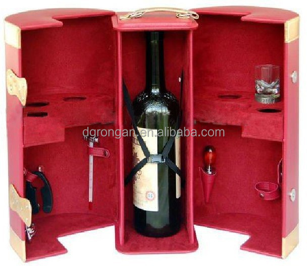 China red color1 bottle single faux case PU leather wine carrier / box / case D06-130