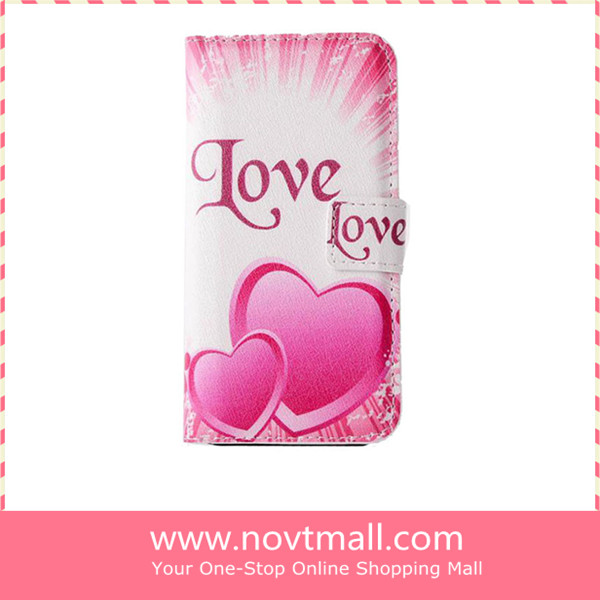 2014 Love letter pu leather cell phone case for iphone 5 5s with stand