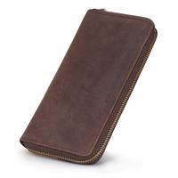 Men's Retro Genuine Crazy-horse Leather Wallet Zipper Purse, Can Store Money,Cell Phone, Cards, etc #XZ153
