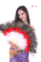 Peacock leather Belly dancing fan for adults stage performance wear (DJ1017-1)