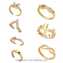 Women's Bowknot Cross Infinity Midi Finger Knuckle Ring Sets
