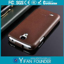 Vertical Flip Genuine Leather Case Cover for Samsung Galaxy S4 i9500 Brown