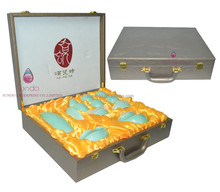 luxury high quality leather packaging suitcase for jade storage