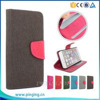 Newest hemp material pu leather flip cover case for Tecno phantom 5 with photo frame and card slots