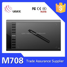 Big active area 10*6 inches M708 5080lpi ugee graphic tablet by pen