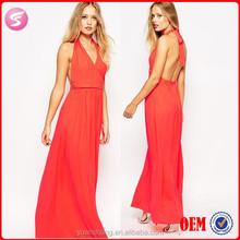 New Design Cross Over Halter Bare-Back Sexy Evening Dress