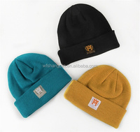 Top Selling 100% Acrylic Custom Tag Beanies Plain Fold Up Knitted Beanie Hat
