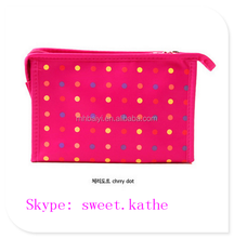 Professional Dot Canvas Polyester Hanging Cosmetic Bag With Mirror