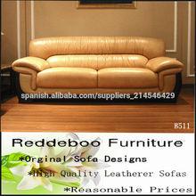 mobiliario moderno de la hoja de oro de diseño sofá de cuero