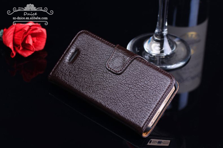 Top Luxury Business Style Nature Cowhide Genuine Leather Wallet Case for iphone 5
