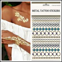 Waterproof Gold Geometry Square Circle Bracelet Metallic Tattoo Stickers