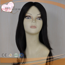 lace wig type full virgin jet black remy hair silk top women wig wedding wig