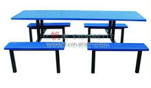 Blue color expandable round dining table attached glass top metal base