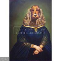 100% Handmade Famous Lovely Dog cartoon animal art painting,Miss Dog