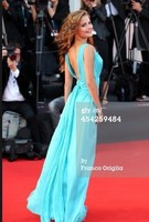 Celebrity Inspired Giulia Electra GorettiBirdman premiere 71st Venice Film Festival Blue Prom Dress