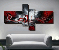 Hand Painted Abstract Canvas Painting Oil Black White And Red Wall Art No Framed 4 Panels Decoration Home Modern Fashion Picture