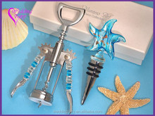 Professional Factory Sale Murano Starfish Design Teal and Gold Bottle Stopper and Opener Set Wedding Favor