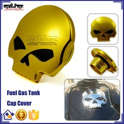 BJ-FTC-001-GO Gold Skull Screw-in Motorcycle Gas Tanks Cap for Harley Sportster Dyna Softail
