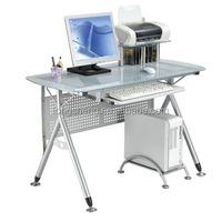 Simple design office glass desktop computer table with metal leg