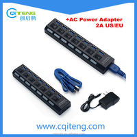 Desktop Friend USB 3.0 Hub With 7 Switches and LED Indication 7 Port-Black