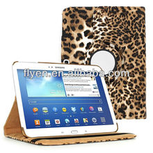"""leopard print 360 Rotating Leather Case Cover Skin Stand for Samsung Galaxy Tab 3 10.1"""" P5200"""
