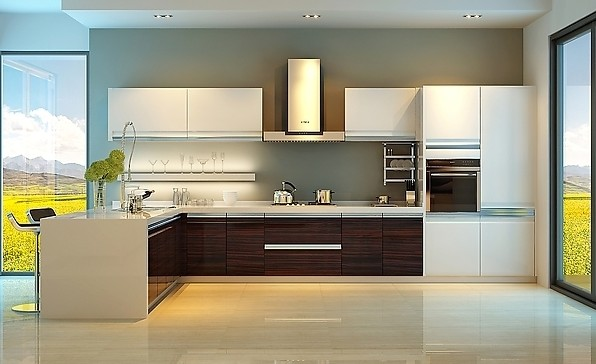 Foshan High Gloss White Lacquer Kitchen Cabinets AGK 094