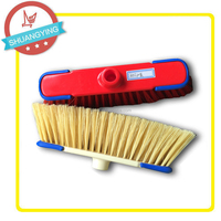 Plastic Floor Scrubber Brush Cleaning Floor Wide Broom with metal Stick or Long Wood Handle