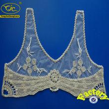 Cuello blanco de encaje de Crochet de algodón bordados para vestido de mujer
