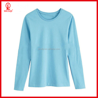 Large size thick cotton women slim fit O-neck long sleeve t-shirt