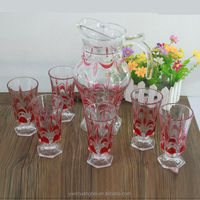 glass cup and jug set with various printed pictures