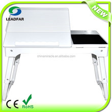 Deluxe elegant foldable adjustable laptop table with USB hub and light