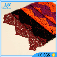 2015 new design contrast colors polyester high quality thick chemical embroidery lace fabric
