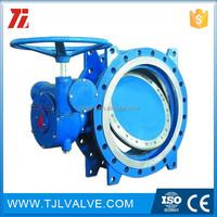 triple eccentric wcb/ss hard sealing l butterfly valve flange gear/motor