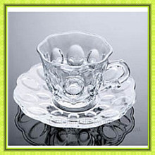 Clear engraved shot glass cup and saucer,unique trumpet shaped glass cup with shell shaped coaster