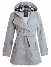 2014 New design Factory wholesale high quality Women's Belted Fleece Button Coat Check Hood Jacket