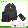 Factory sells high quality 5 watts nylon solar backpack, solar travel bag with 5000mah battery