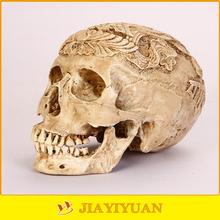 Halloween Head Skull Decorative Skull 3d Model Resin Flower Carved Colored Human Skull Model for sale