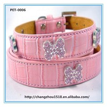 Inlayed rhinestone bone dog collar